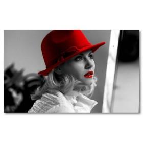 Αφίσα (Elisha Cuthbert, διασημότητα, κραγιόν, κόκκινος, χείλη, μαύρο, λευκό, άσπρο)